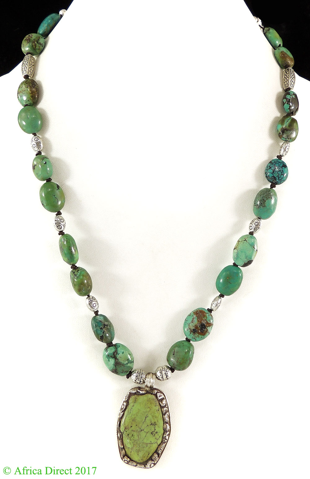 Tibetan Necklace Old Turquoise Silver Repoussee Pendant by