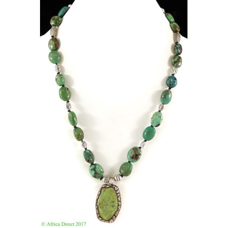 Tibetan Necklace Old Turquoise Silver Repoussee  Pendant