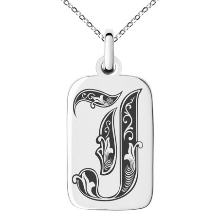 Stainless Steel Letter J Initial Royal Monogram Engraved Small Rectangle Dog Tag Charm Pendant (Monogram Double Luxe Tag)