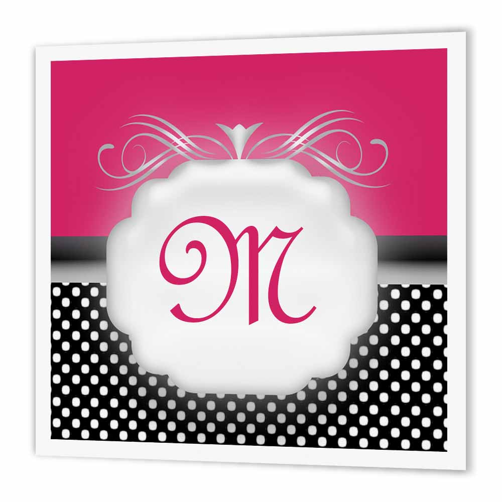 3dRose Elegant Pink with Black and White Polka Dot Monogram Letter M, Iron On Heat Transfer, 6 by 6-inch, For White Material