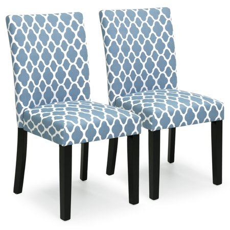 Best Choice Products Set of 2 Mid-Century Modern Fabric Parson Dining Chairs, Blue ()