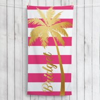 Gold Palm Tree Personalized Summertime Beach Towel
