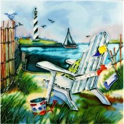 En Vogue B-303 Chair with Light House View - Decorative Ceramic Art Tile - 8 in. x 8 in.