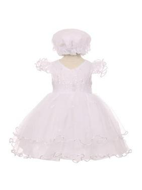 e37e2f52c26 Product Image Baby Girls White Precious Ruffle Sleeves Christening Baptism  Bonnet Dress 3-24M