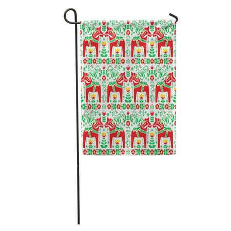 KDAGR Green Scandinavian Folk Pattern Swedish Dala Daleclarian Horse Floral Red Garden Flag Decorative Flag House Banner 28x40 inch