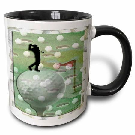 3dRose Man on Golf Ball - Two Tone Black Mug, 11-ounce