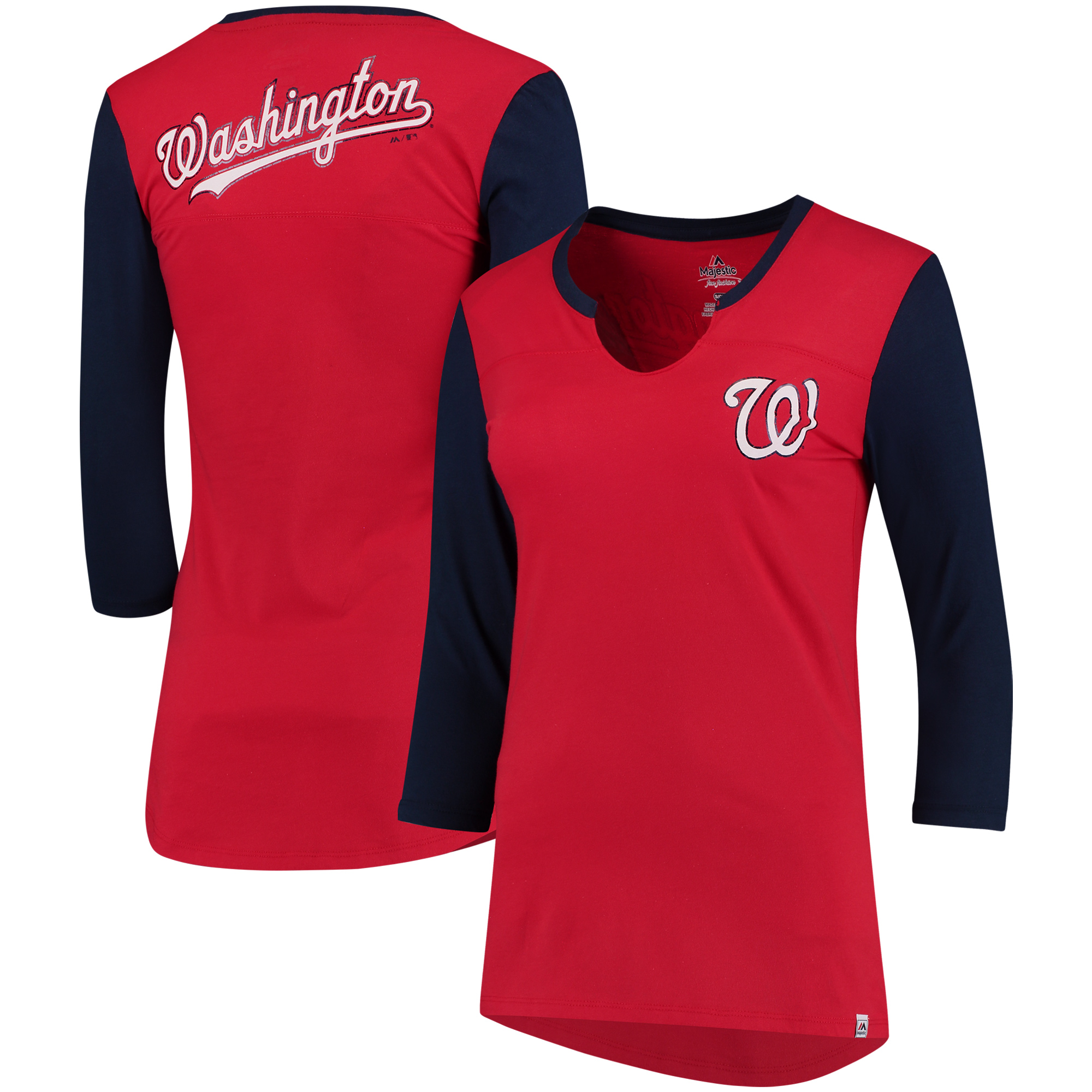 Washington Nationals Majestic Women's Above Average Three-Quarter Sleeve V-Notch T-Shirt - Red/Navy