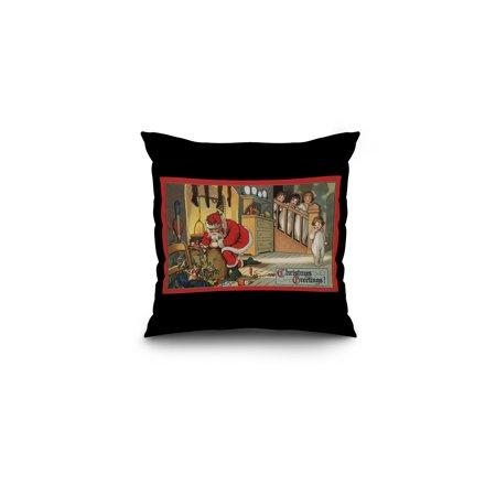 Christmas Greeting - Santa Pulling Out Gifts (16x16 Spun Polyester Pillow, Black Border)