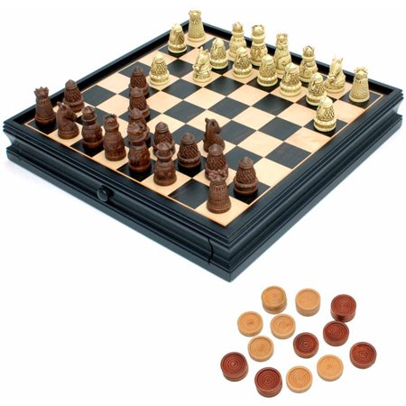Medieval Chess and Checkers Set, Polystone Pieces, Black Stained Wooden Board with Storage Drawer, 15""