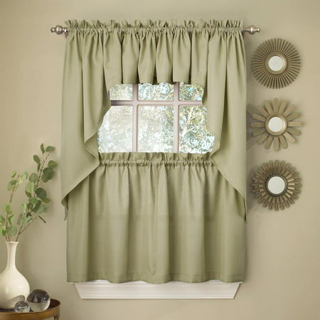 Sage Solid Opaque Ribcord Kitchen Curtains Choice of Tiers Valance or Swag