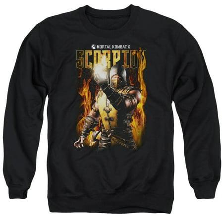 Mortal Kombat Scorpion Mens Crew Neck Sweatshirt (Scorpion Mask Mortal Kombat)