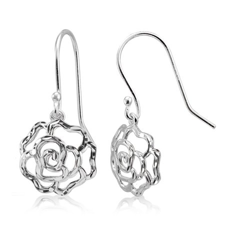 - Mondevio  High Polished Diamond-cut Filigree Rose Flower Dangle Earrings in Sterling Silver