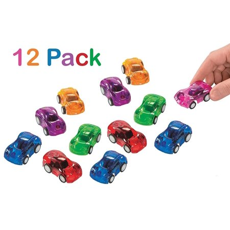 Friction Pull Back Transparent Cars - Pack Of 12 - 2 Inches Assorted Colors - Cool Sports Cars - For Kids Great Party Favors, Bag Stuffers, Fun, Toy, Gift, Prize - By Kidsco (Great Party Ideas For Adults)