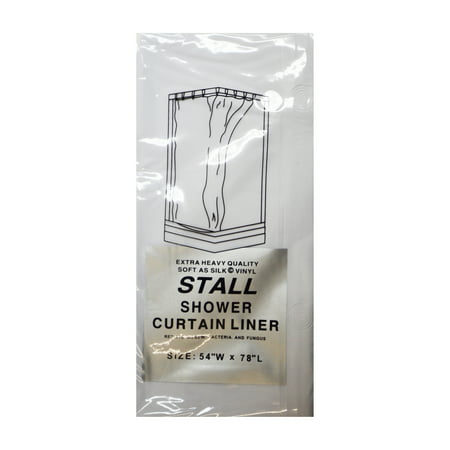 White Stall Size 5 Gauge Vinyl Shower Curtain Liner: 54