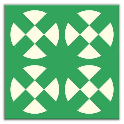 Oscar & Izzy Folksy Love 4-1/4'' x 4-1/4'' Glossy Decorative Tile in Hot Plates Green