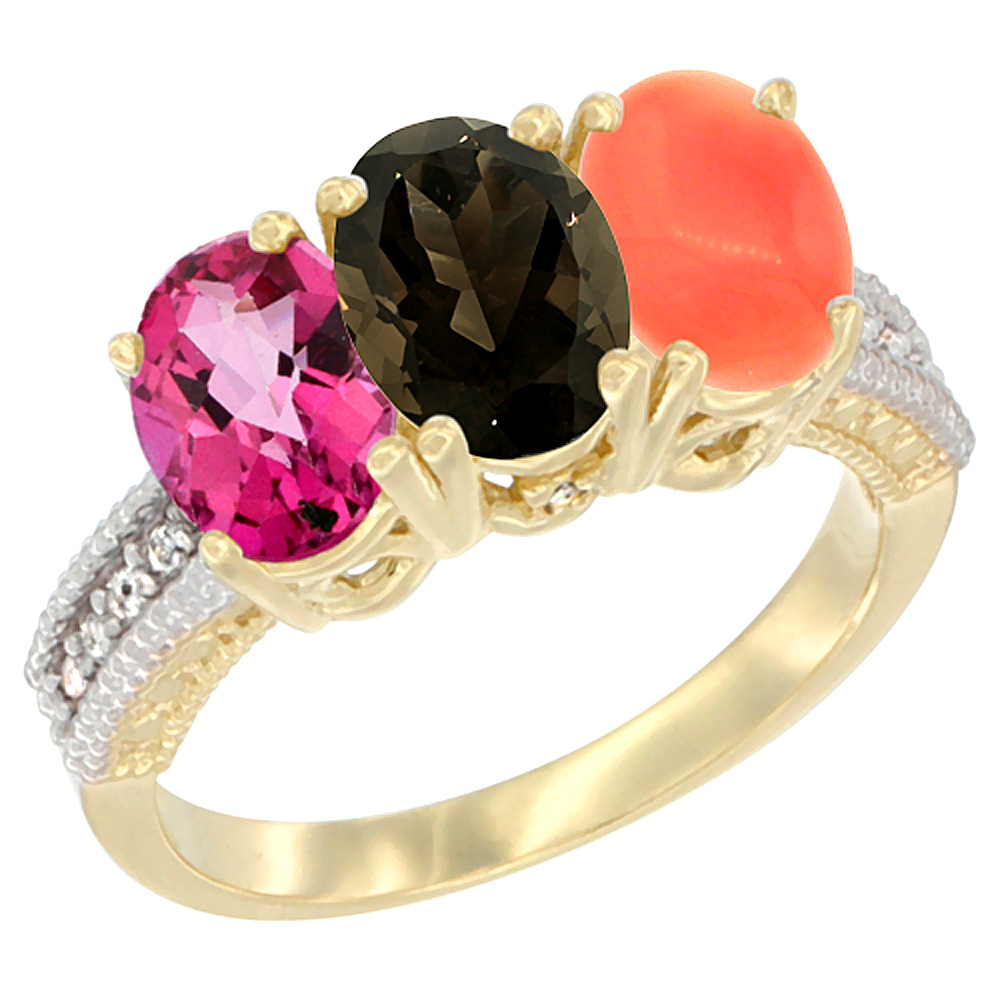 10K Yellow Gold Diamond Natural Pink Topaz, Smoky Topaz & Coral Ring 3-Stone Oval 7x5 mm, sizes 5 10 by WorldJewels