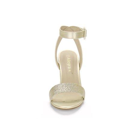 327e1a4ba8a0 Unique Bargains Women s Block High Heel Open Toe Ankle Strap Sandals Gold ( Size 6.5) ...
