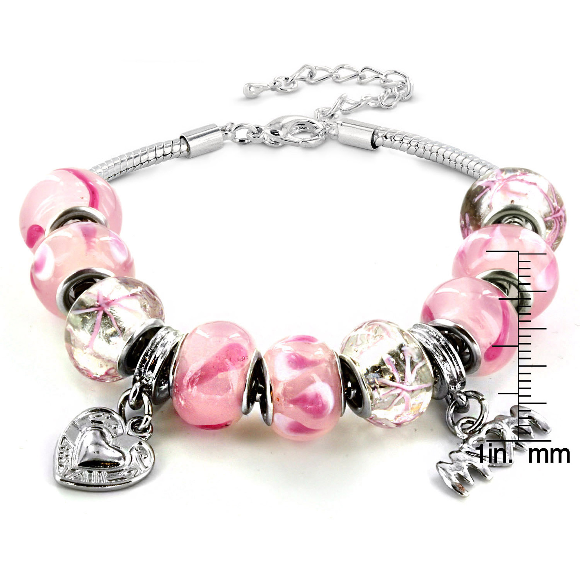 """Silver Tone Pink Murano Glass Bead and """"Mom"""" Heart Charm Bracelet"""