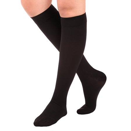 Made in the USA – XXXL Opaque Compression Socks, Knee-Hi - Firm Medical Support Hose - Closed Toe, 20-30 mmHg Graduated Compression Stockings (Size: 3XL, Black) Support Stockings for Men and