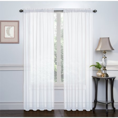 2 Pack: Basic Rod Pocket Sheer Voile Grommet Window Curtains - White