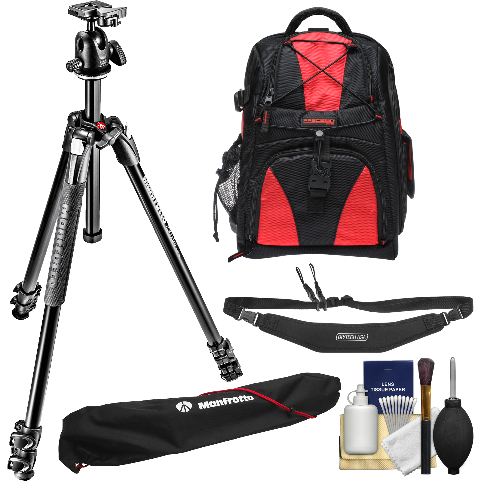"Manfrotto 290 Xtra 67"" Professional Tripod with Ball Head & Case Kit with Backpack   Camera Strap & DSLR Cleaning Kit"