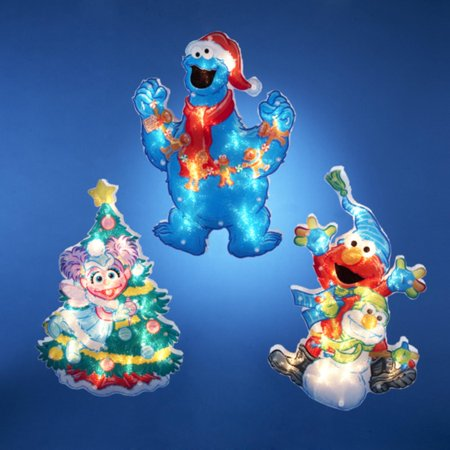 Club pack of 12 lighted sesame street glitter christmas for Christmas window decorations clearance