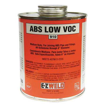 EZ WELD 91004 ABS Cement, 32 Oz, Black