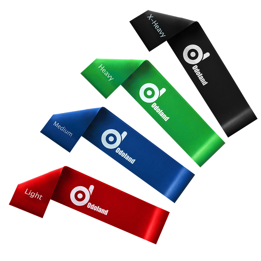 Odoland Exercise Resistance Loop Bands Set of 4 Light Medium Heavy X-Heavy Exercise Bands / Assisted Pull Up Bands