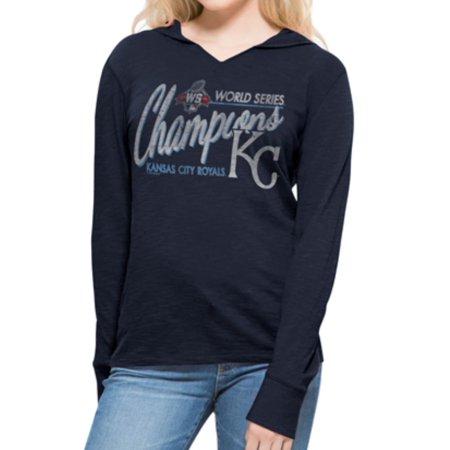 Kansas City Royals 47 Brand Women 2015 World Series Champs LS Hoodie T-Shirt by