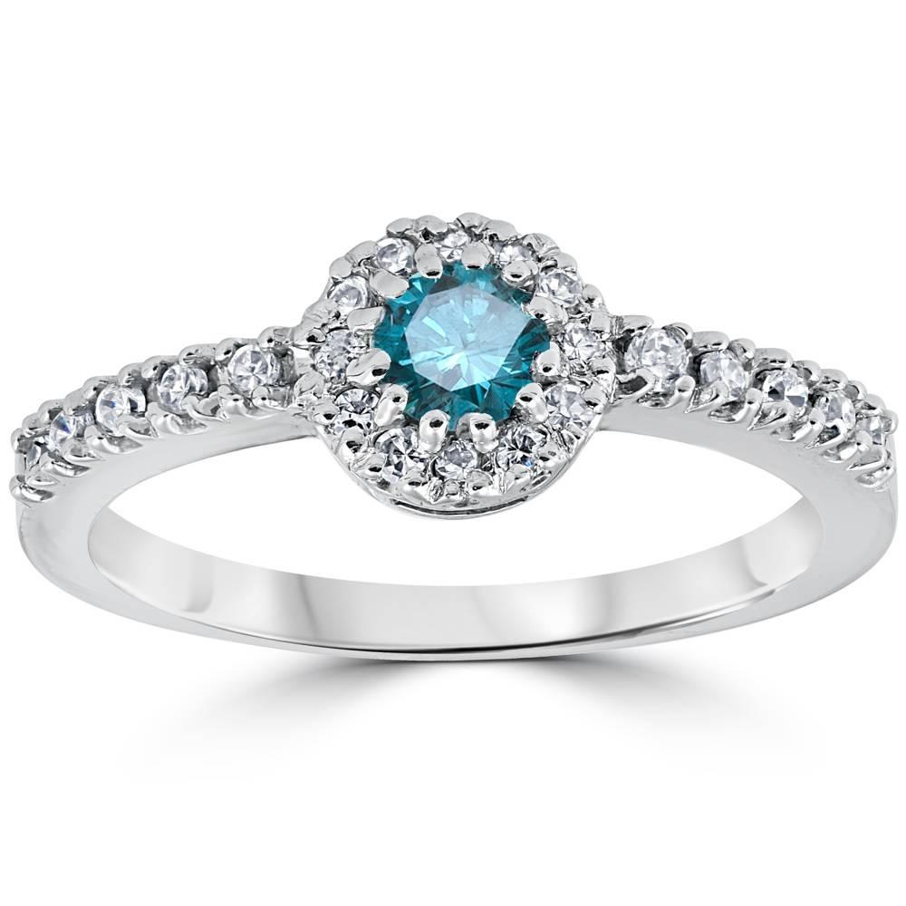 Pompeii3 3/4ct Blue Diamond Engagement Halo 14K White Gol...