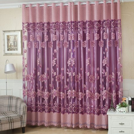 2Pcs 100*250cm Elegant Luxury High-end Floral Pattern Window Curtains with Beads Door Voile Curtain Window Drape Divider Room Wall Setting Wall Decoration Classy Window Treatments Size 39