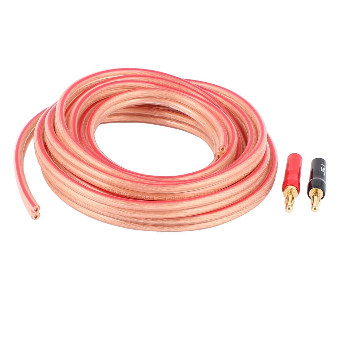 Unique Bargains 3 Meter 9.8 Ft Speaker 600 Fine Copper Wire Core Cable w 2 Connector