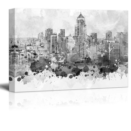 wall26 - Black and White City of Bangkok in Thailand with Watercolor Splotches - Canvas Art Home Decor - 32x48