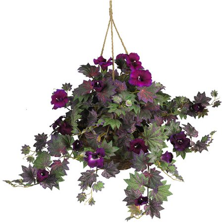 morning glory hanging basket silk plant. Black Bedroom Furniture Sets. Home Design Ideas