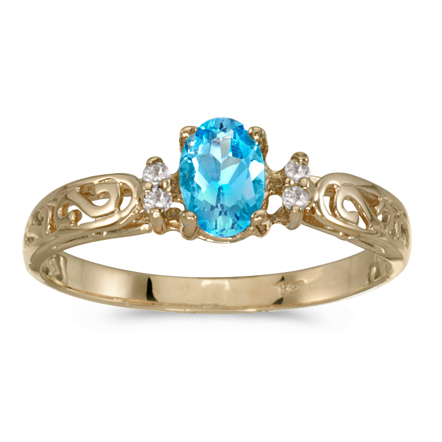 14k Yellow Gold Oval Blue Topaz And Diamond Filagree Ring by