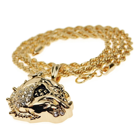 Mens Bulldog Rope Chain Iced-Out Bull Dog Bling Pendant Gold Finish Hip Hop Necklace 24 (Bull Rope)
