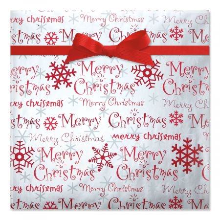 - Merry Christmas Script Foil Rolled Gift Wrap - 38 sq. ft. metallic wrap