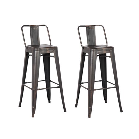 Distressed Metal Barstool with Back, Black, 30 -inch, Set of 2