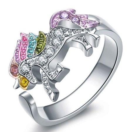 Fancyleo 1 PCS  Rainbow Unicorn Rings  Girl Ladies Fashion Ring Gift for Women - Unicorn Rings