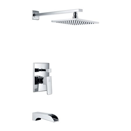 ANZZI SH-AZ037 Mezzo Solid Brass Tub and Shower Faucet In Polished Chrome Solid Brass Turtle Faucet