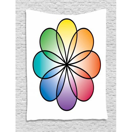 Rainbow Tapestry, Flower of Life Design with Colorful Petals Eastern Chinese Feng Shui Themed Design, Wall Hanging for Bedroom Living Room Dorm Decor, 40W X 60L Inches, Multicolor, by