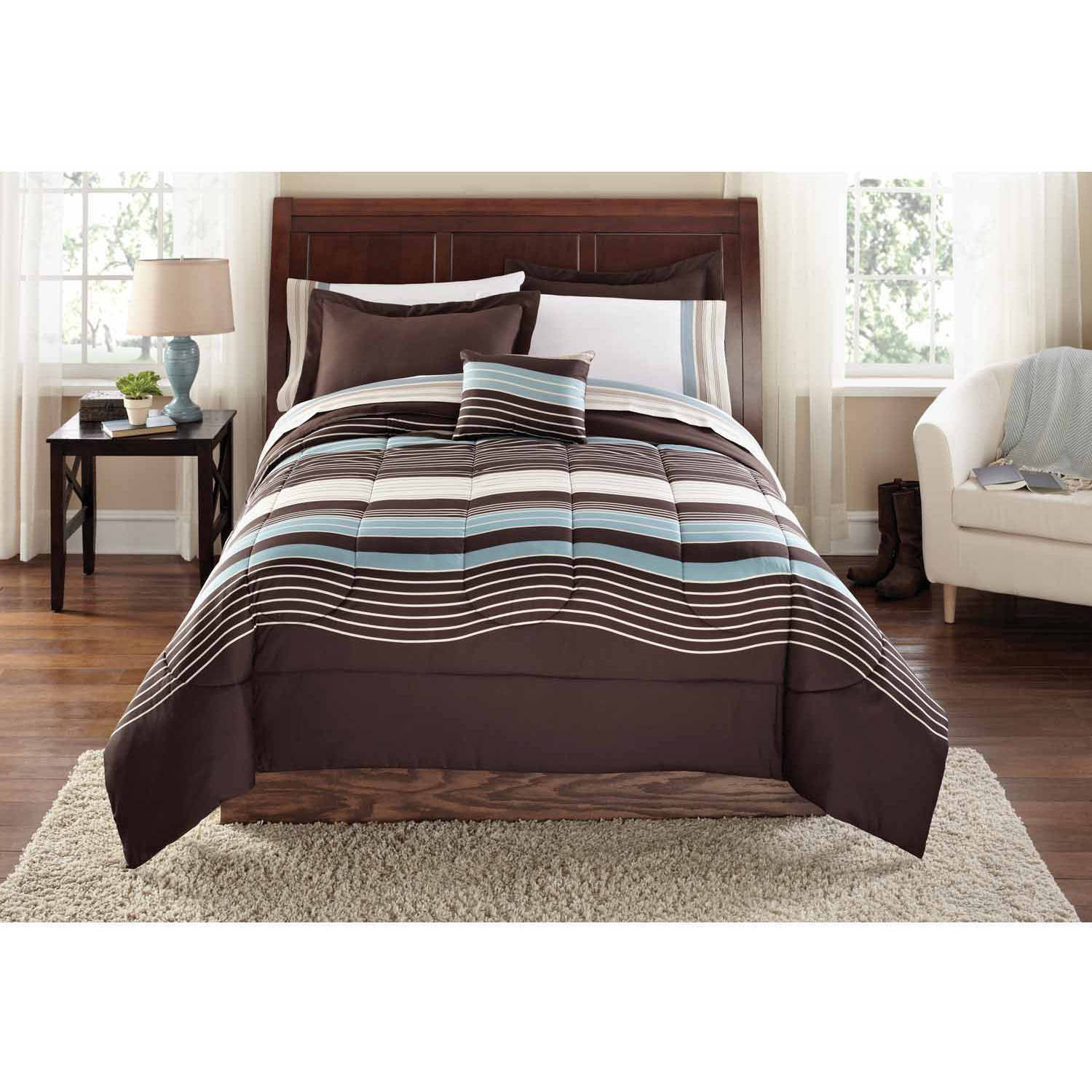 Beau Mainstays Ombre Coordinated Bedding Set With Bedskirt Bed In A Bag    Walmart.com