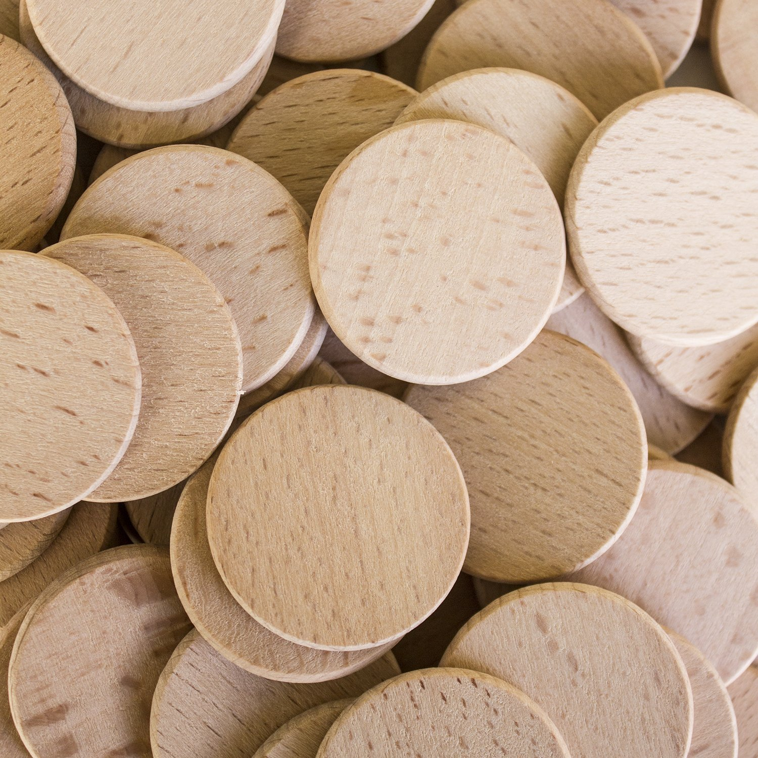 "Round Unfinished 1.5"" Wood Cutout Circles Tags Chips for Arts & Crafts Projects, Board Game Pieces, Ornaments (100 Pieces) by Super Z Outlet"
