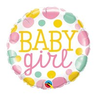 Qualatex 88920 18 in. Baby Girl Dots Flat Foil Balloon - Pack of 5