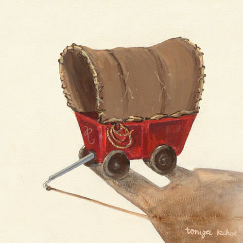Oopsy Daisy - Covered Wagon Canvas Wall Art 10x10, Tonya Kehoe