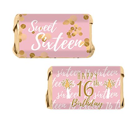Sweet 16 Party Favor Candy Wrappers 54ct, Pink and Gold 16th Birthday Party Favors