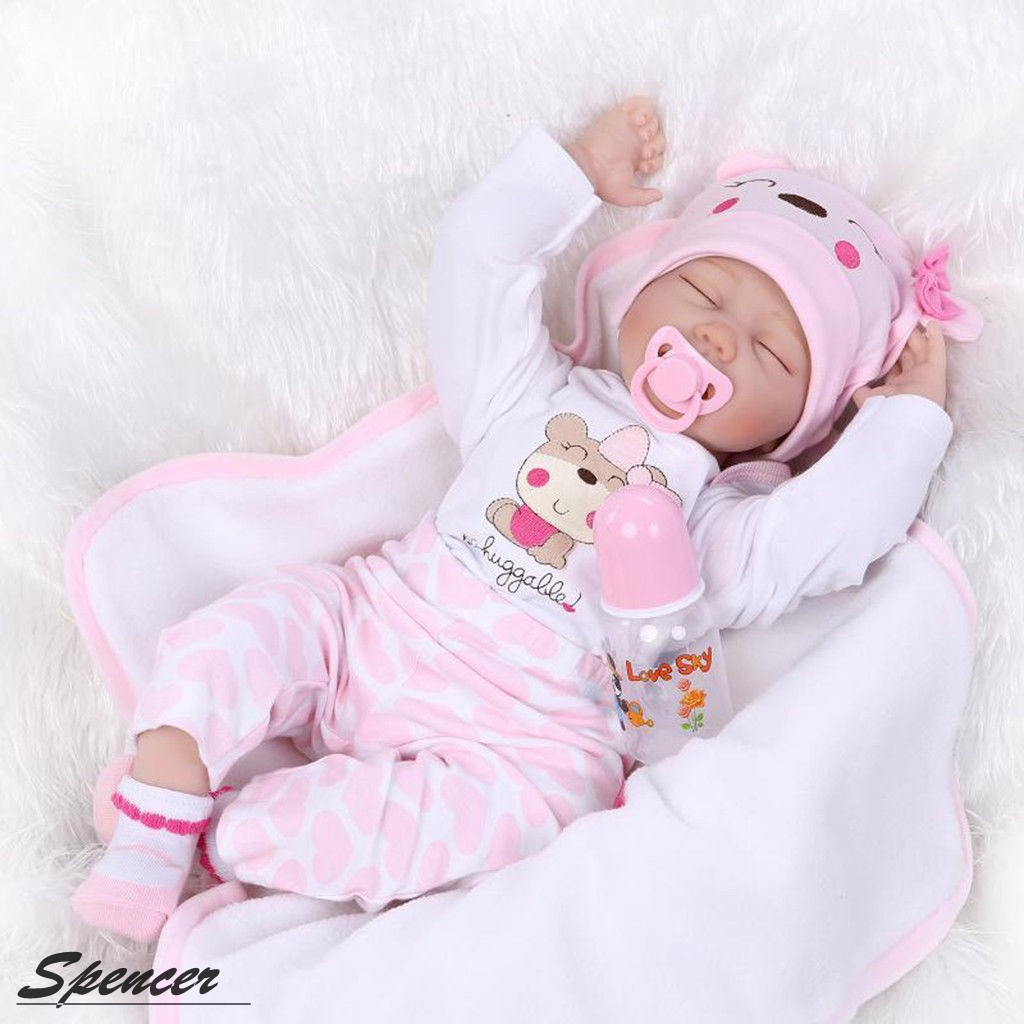 "Spencer 22"" Handmade Lifelike Newborn Silicone Vinyl Reborn Baby Doll Soft Body Birthday Gift"