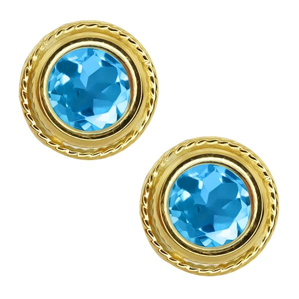 2.00 Ct 6mm Round Swiss Blue Topaz Gold Palted Sterling Silver Stud Earrings