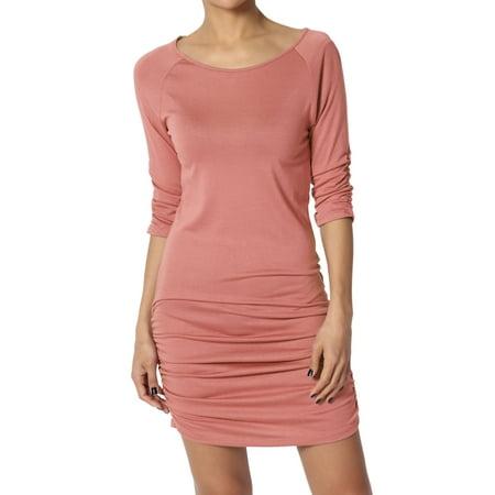 - TheMogan Women's 3/4 Sleeve Bodycon Stretch Ruched Mini T-Shirt Dress Tunic Top