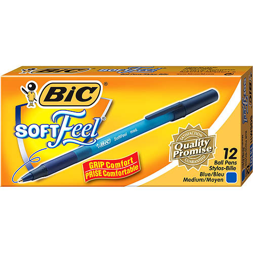 BIC Soft Feel Stick Ball Pen, Medium, Blue, 1-Dozen